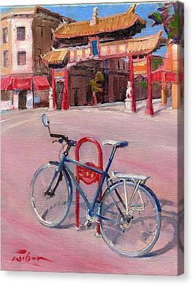 Chinatown Bicycle Canvas Print by Ron Wilson