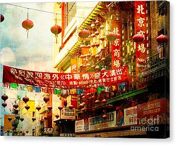 Chinatown In The Sun Canvas Print by Sonja Quintero
