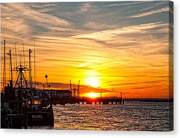 Chincoteague Bay Sunset Canvas Print by Lara Ellis