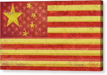 Chinese American Flag Blend Canvas Print by Tony Rubino