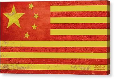 Chinese American Flag Canvas Print by Tony Rubino