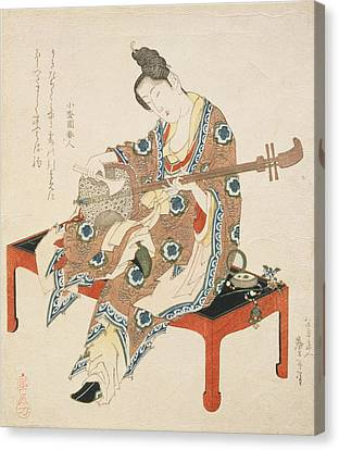Chinese Beauty Playing The Shamisen Canvas Print