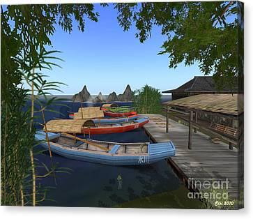 Canvas Print featuring the digital art Chinese Boats by Susanne Baumann
