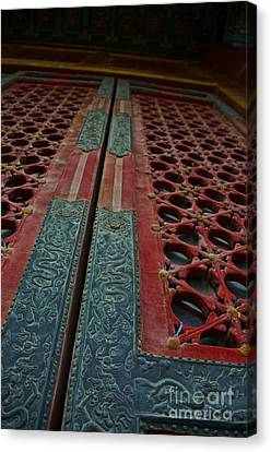 Canvas Print featuring the photograph Chinese Door  by Sarah Mullin