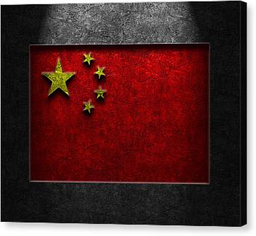 Canvas Print featuring the digital art Chinese Flag Stone Texture by Brian Carson