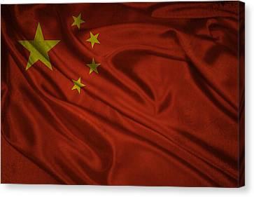 Chinese Flag Waving On Canvas Canvas Print by Eti Reid