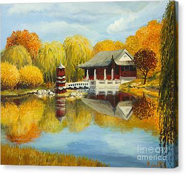 Chinese Garden In Berlin Canvas Print by Kiril Stanchev