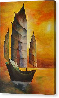 Chinese Junk In Ochre Canvas Print