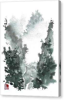Chinese Landscape -mistyvalley Canvas Print by Sean Seal