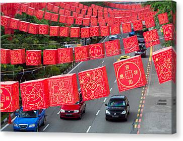 Chinese Lanterns Hanging During Chinese Canvas Print by Panoramic Images