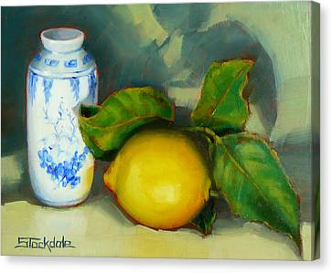 Chinese Pot And Lemon Canvas Print by Margaret Stockdale