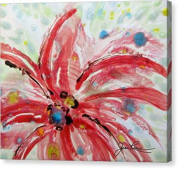 Canvas Print featuring the painting Chinese Red Flower by Joan Reese