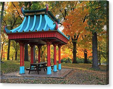 Chinese Shelter In Autumn Canvas Print by Scott Rackers