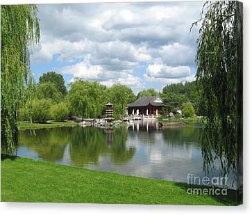 Chinese Tea Pavilion Near The Lake Canvas Print by Kiril Stanchev
