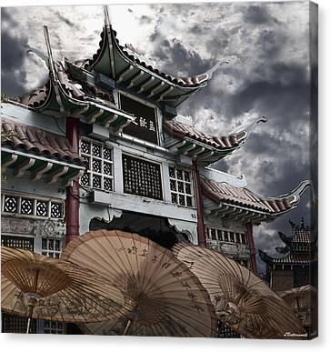 Chinese Temple Gate Canvas Print by Larry Butterworth