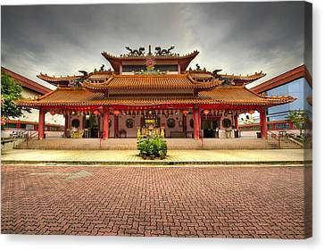 Chinese Temple Paved Square Canvas Print by David Gn