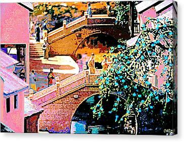 Chinese Village Bridges Canvas Print