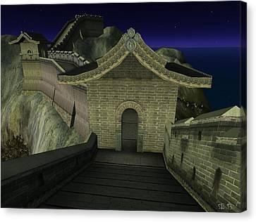 Canvas Print featuring the digital art Chinese Wall by Susanne Baumann