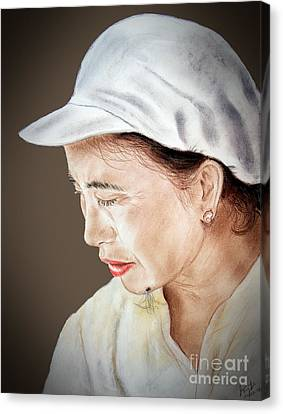 Chinese Woman With A Hairy Facial Mole II Canvas Print by Jim Fitzpatrick