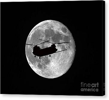 Chinook Moon B And W Canvas Print by Al Powell Photography USA