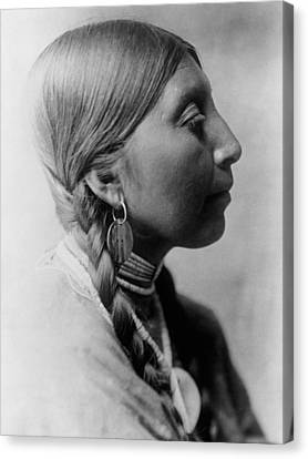 Braids Canvas Print - Chinookan Indian Woman Circa 1910 by Aged Pixel
