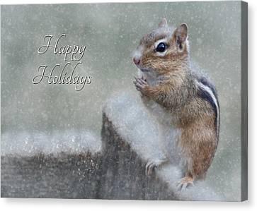Chippy Christmas Card Canvas Print by Lori Deiter