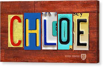 Chloe License Plate Name Sign Fun Kid Room Decor Canvas Print by Design Turnpike