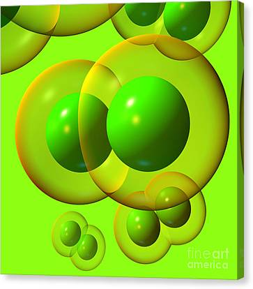 Canvas Print featuring the digital art Chlorine Molecule 1 Green by Russell Kightley