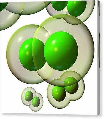 Canvas Print featuring the digital art Chlorine Molecule 3 White by Russell Kightley