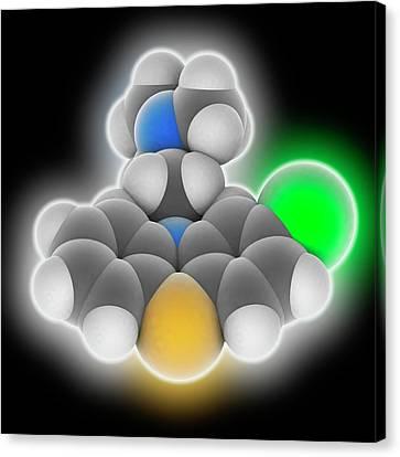 Psychiatric Canvas Print - Chlorpromazine Drug Molecule by Laguna Design