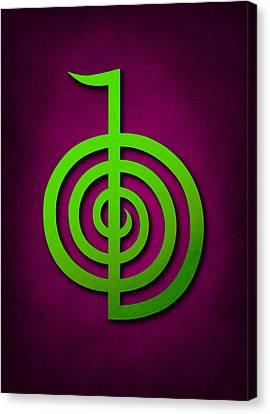 Cho Ku Rei - Lime Green On Purple Reiki Usui Symbol Canvas Print by Cristina-Velina Ion