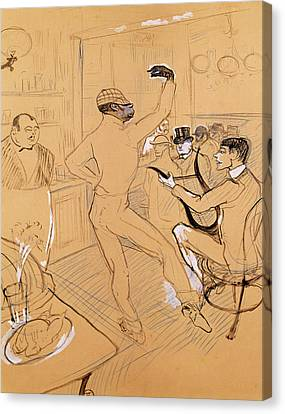 Chocolat Dancing, 1896 Pen & Ink And Coloured Pencil On Paper Canvas Print by Henri de Toulouse-Lautrec