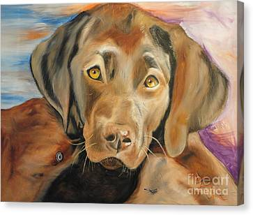 Canvas Print featuring the painting Chocolat Labrador Puppy by PainterArtist FIN