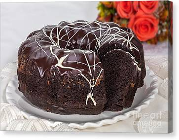 Mothersday Canvas Print - Chocolate Bundtcake With Roses by Iris Richardson