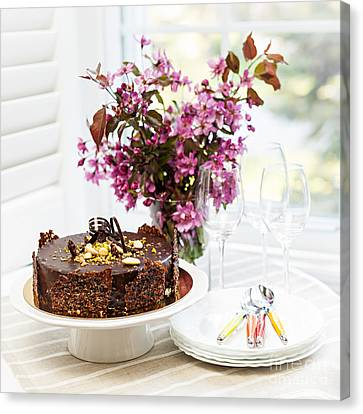 Chocolate Cake With Flowers Canvas Print by Elena Elisseeva