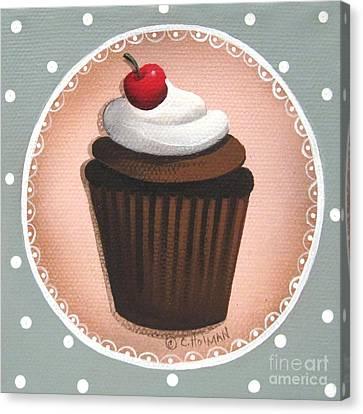Chocolate Cherry Chip Cupcake Canvas Print by Catherine Holman