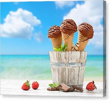 Chocolate Icecreams Canvas Print by Amanda Elwell