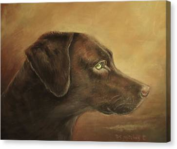 Canvas Print featuring the painting Chocolate Lab by Patricia Schneider Mitchell