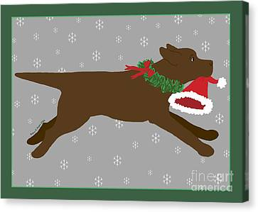 Chocolate Labrador Steals Santa's Hat Canvas Print by Amy Reges