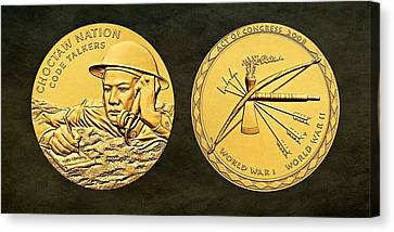 Choctaw Nation Tribe Code Talkers Bronze Medal Art Canvas Print by Movie Poster Prints