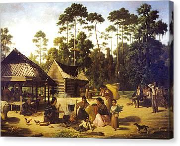 Log Cabins Canvas Print - Choctaw Village by George Catlin