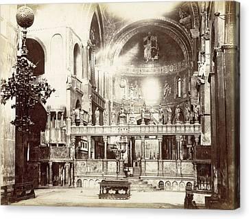 Choir, Byzantine Cross, Altar And Altar Of The Basilica Canvas Print by Artokoloro