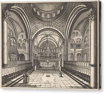 Choir Of The Holy Sepulchre In Jerusalem Canvas Print by Jan Luyken