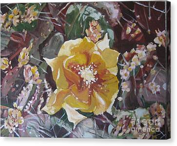 Canvas Print featuring the painting Cholla Flowers by Julie Todd-Cundiff