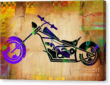 Chopper Motorcycle Painting Canvas Print by Marvin Blaine