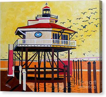 Choptank River Lighthouse Canvas Print by Lesley Giles