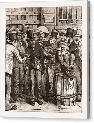 Chorus Of Hungry Democrats, 1880, 19th Century Engraving Canvas Print by Litz Collection