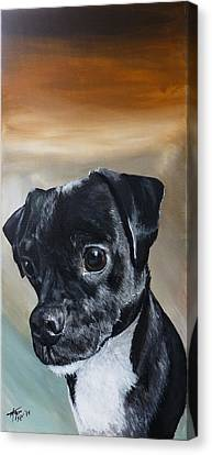 Chowder The Pug Rat Terrier Mix Canvas Print by Michelle Iglesias