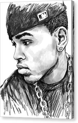 Chris Brown Art Drawing Sketch Portrait Canvas Print by Kim Wang
