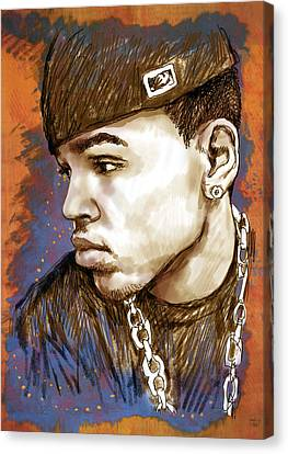 Chris Brown  - Stylised Drawing Art Poster Canvas Print by Kim Wang